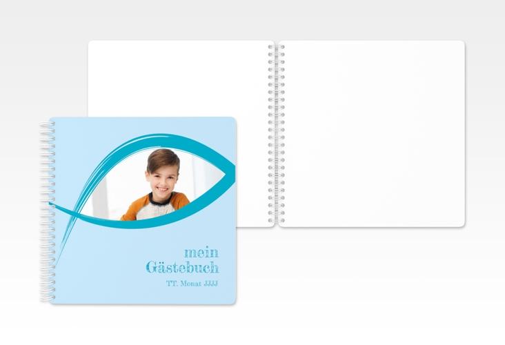 "Gästebuch Kommunion ""Credo"" Ringbindung blau"