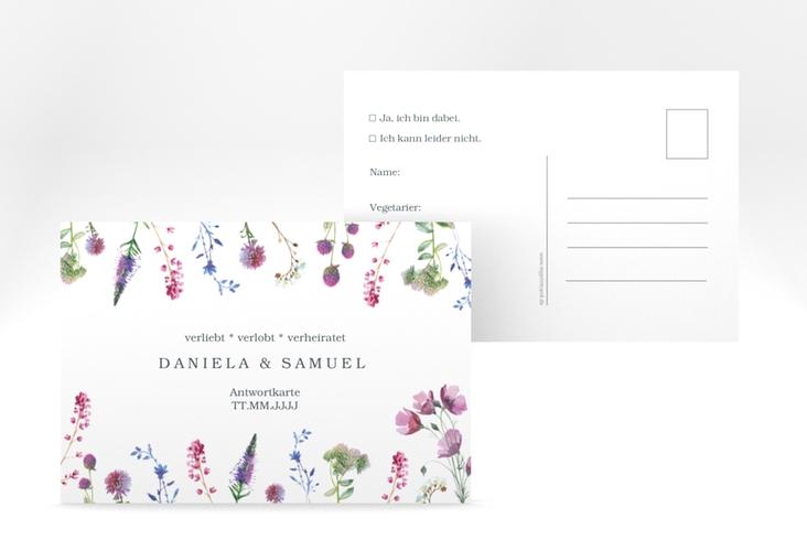 """Antwortkarte Hochzeit """"Wildblumen"""" A6 Postkarte"""