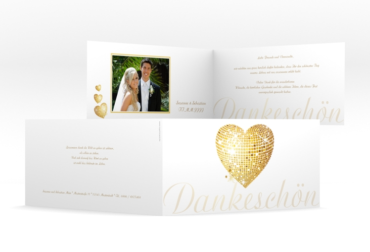 "Danksagungskarte Hochzeit ""Rimini"" DIN lang Klappkarte gold"