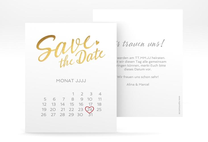 "Save the Date-Kalenderblatt ""Glam"" Kalenderblatt-Karte weiss"