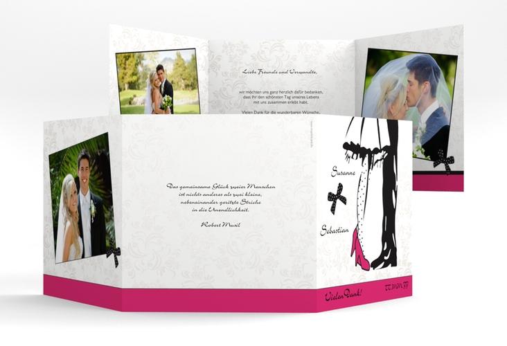 "Dankeskarte Hochzeit ""Straßburg"" Quadr. Karte doppelt pink"
