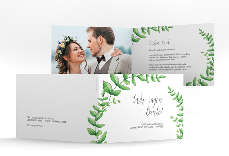 "Danksagungskarte Hochzeit ""Botanic"" A6 Klappkarte Quer"