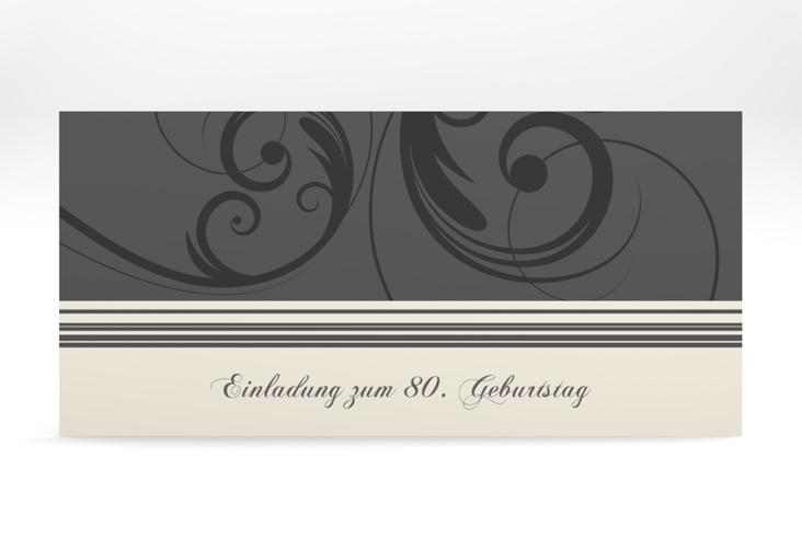 "Einladungskarte ""Katharina"" DIN lang grau"