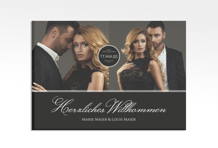 """Willkommensschild Hochzeit """"Elegancy"""" 70 x 50 cm Leinwand schwarz"""