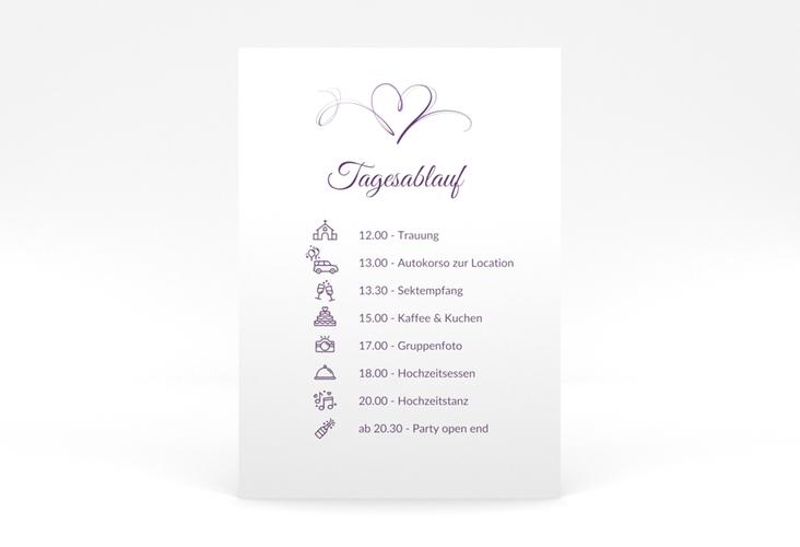 """Tagesablauf Poster Hochzeit """"Envie"""" 50 x 70 cm Poster lila"""