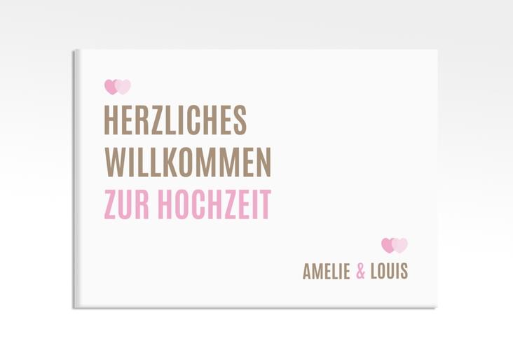 """Willkommensschild Hochzeit """"Couple"""" 70 x 50 cm Leinwand rosa"""