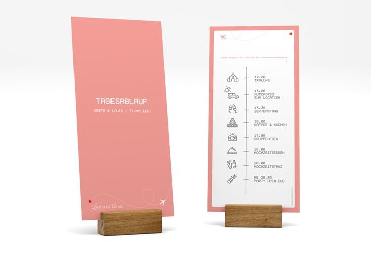 """Tagesablauf Hochzeit """"Weddingpass"""" DIN lang hoch rosa"""