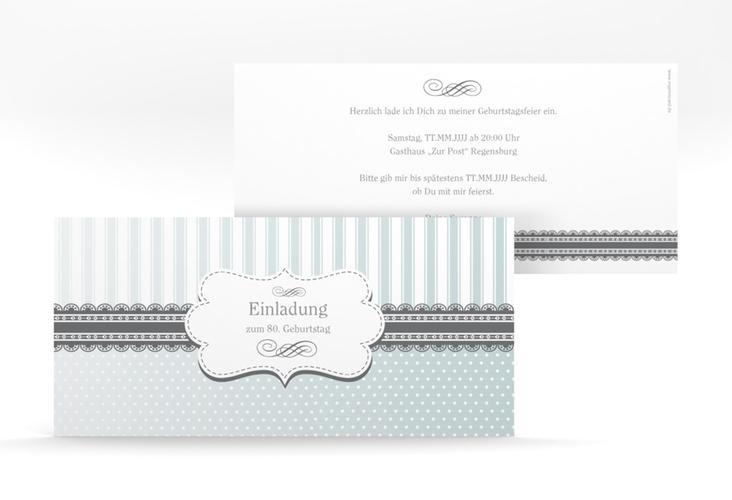 """Einladungskarte """"Heinrich/Henriette"""" DIN lang grau"""