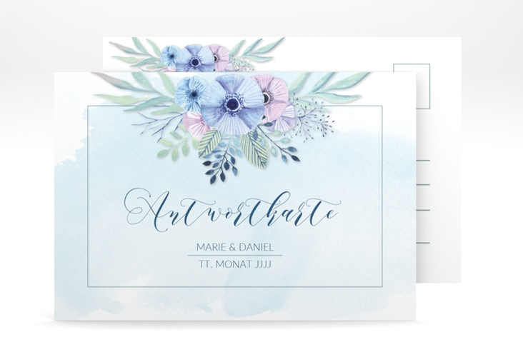 "Antwortkarte Hochzeit ""Surfinia"" A6 Postkarte blau"