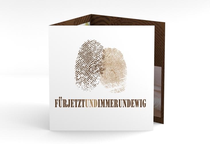 """Dankeskarte Hochzeit """"Messina"""" Quadr. Karte doppelt braun"""