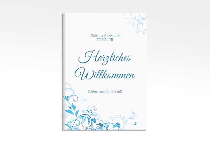 "Willkommensschild Leinwand ""Lilly"" 50 x 70 cm Leinwand blau"