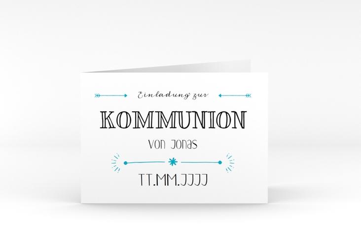 """Kommunionseinladung """"Wording"""" A6 Klappkarte Quer tuerkis"""