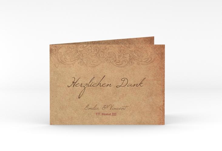 """Danksagungskarte Hochzeit """"Fairytale"""" A6 Klappkarte Quer braun"""