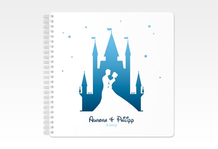 "Gästebuch Hochzeit ""Castle"" Ringbindung blau"