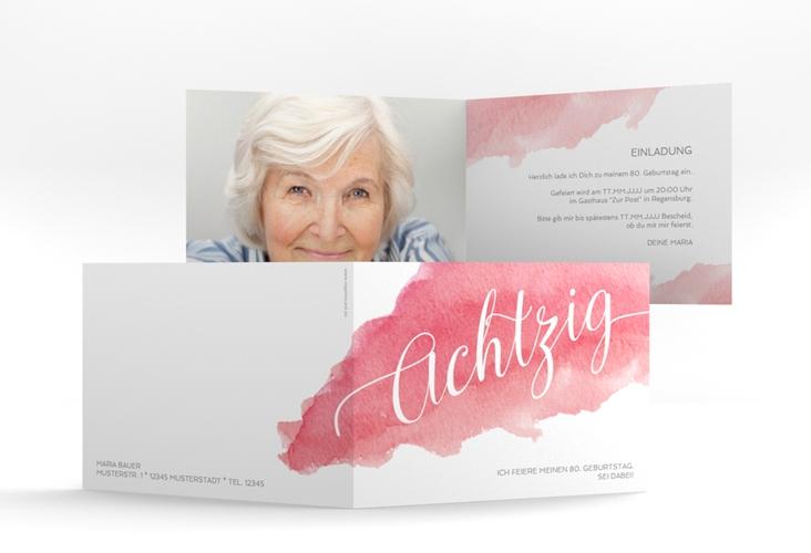 """Einladungskarte """"Aquarell"""" A6 Klappkarte Quer"""