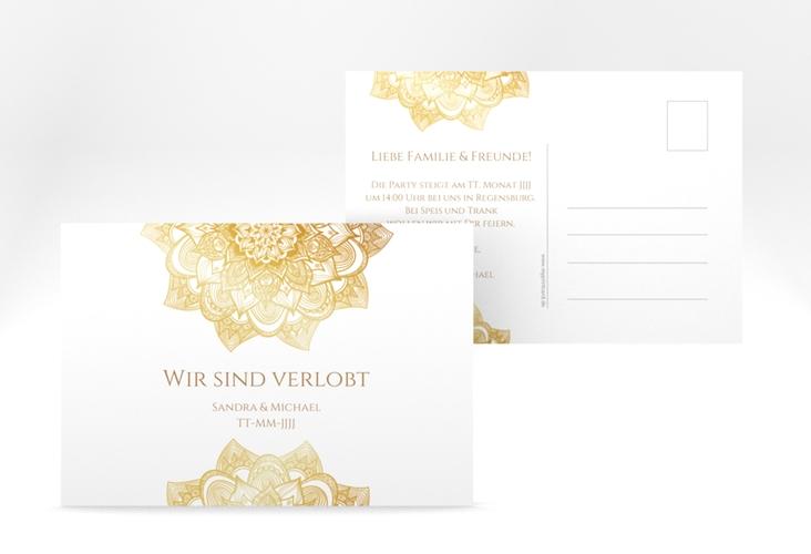 "Verlobungskarte Hochzeit ""Delight"" A6 Postkarte gold"