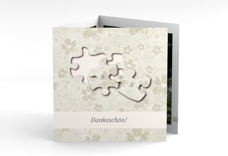 """Dankeskarte Hochzeit """"Ravensburg"""" Quadr. Karte doppelt grau"""