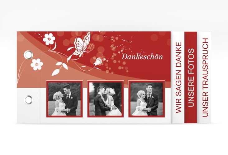 """Danksagungskarte Hochzeit """"Verona"""" Booklet rot"""