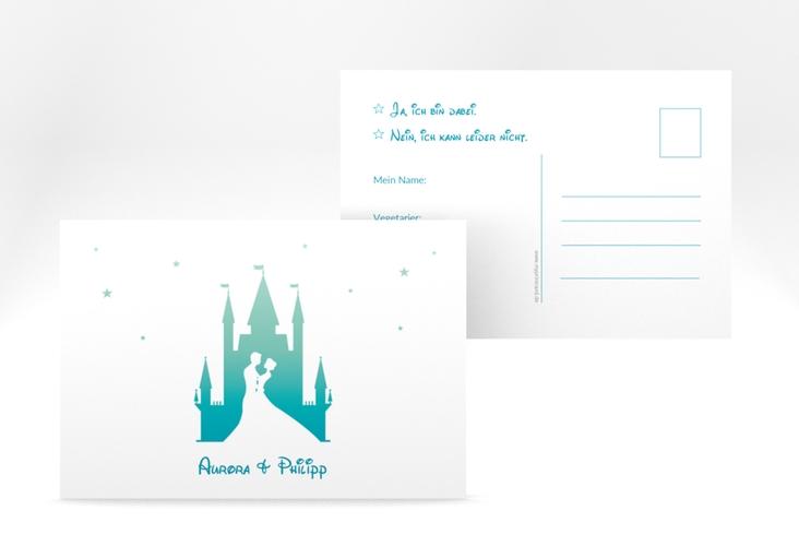 """Antwortkarte Hochzeit """"Castle"""" A6 Postkarte tuerkis"""