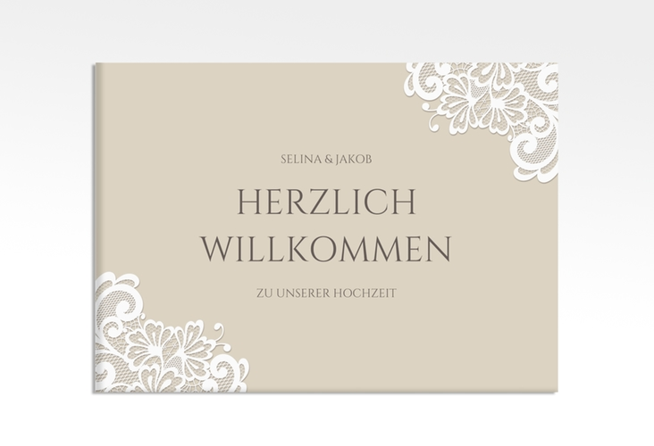 """Willkommensschild Leinwand """"Vintage"""" 70 x 50 cm Leinwand beige"""