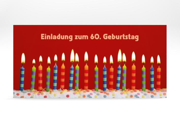 """Einladungskarte """"Candles"""" DIN lang rot"""