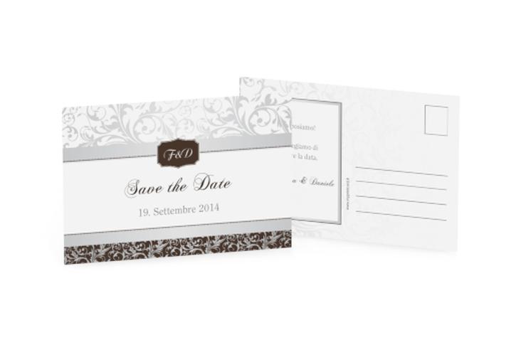 Biglietti Save the Date collezione Latina A6 Postkarte marrone