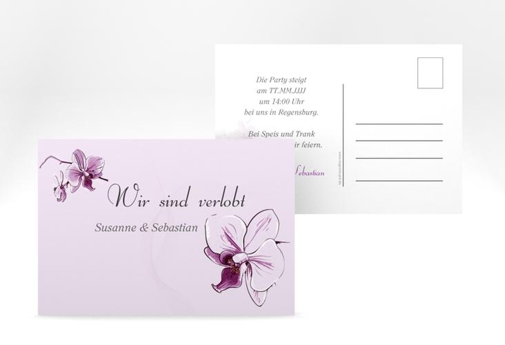 "Verlobungskarte Hochzeit ""Modena"" A6 Postkarte lila"