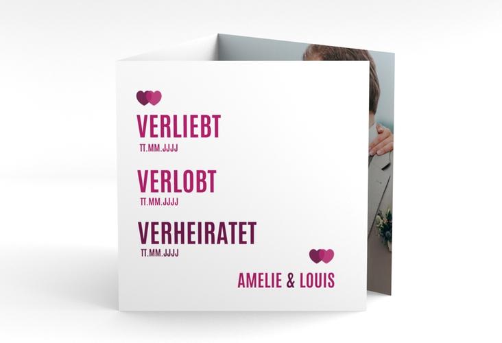"Dankeskarte Hochzeit ""Couple"" Quadr. Karte doppelt pink"