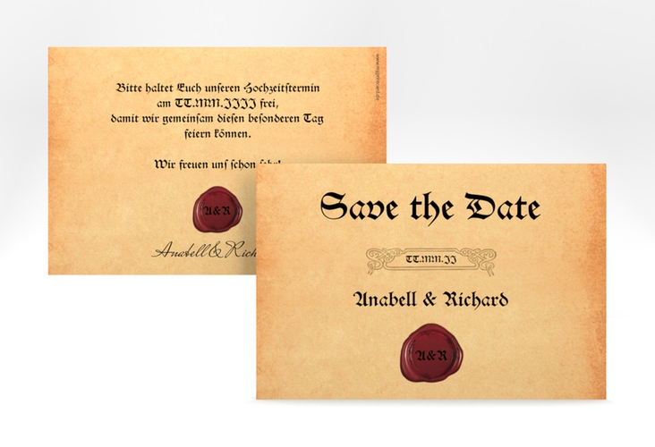 """Save the Date-Karte """"Mittelalter"""" A6 quer"""