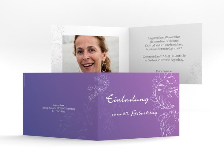 """Einladungskarte """"Peter/Petra"""" A6 Klappkarte Quer lila"""