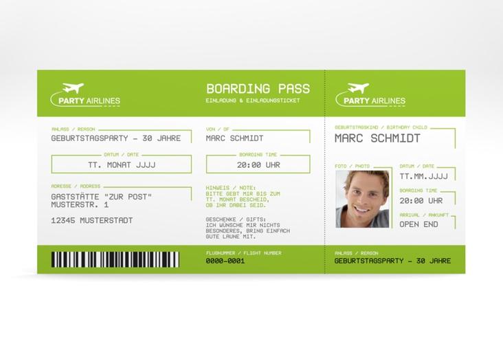 """Einladungskarte """"Boardingpass"""" DIN lang gruen"""