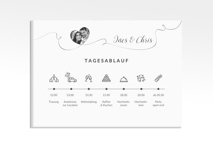 """Tagesablauf Leinwand Hochzeit """"Dolce"""" 70 x 50 cm Leinwand weiss"""