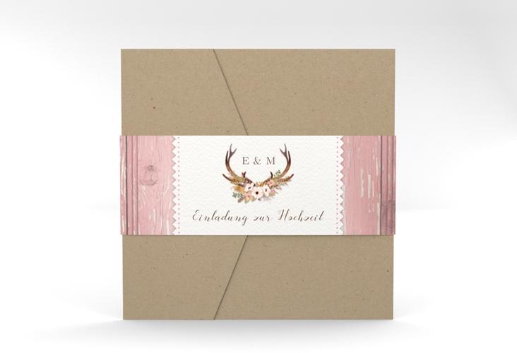 """Hochzeitseinladung """"Heimatjuwel"""" Pocketfold rosa"""