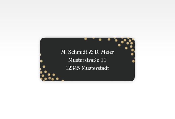 """Absenderetikett Hochzeit """"Glitter"""" 45,7 x 21,2 mm schwarz"""
