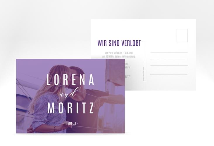 """Verlobungskarte Hochzeit """"Memory"""" A6 Postkarte lila"""