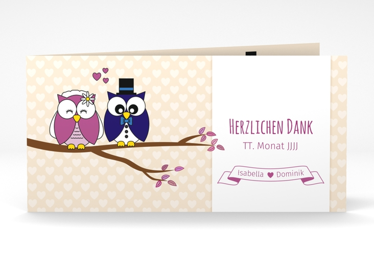 """Danksagungskarte Hochzeit """"Eulenliebe"""" DIN lang Klappkarte beige"""