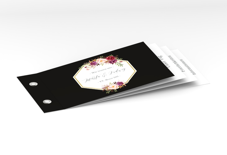"""Hochzeitseinladung """"Prachtvoll"""" Booklet schwarz"""