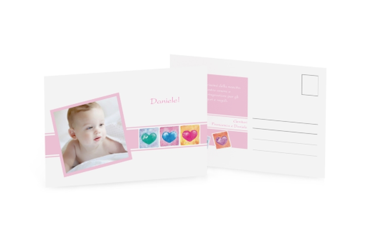 Biglietti nascita tre cuori A6 Postkarte rosa