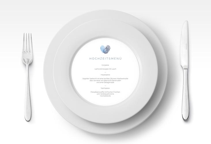 """Menükarte Hochzeit """"Fingerprint"""" rund blau"""
