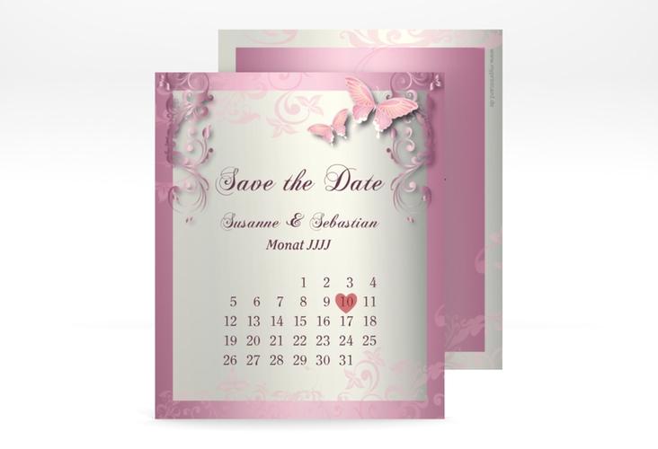 "Save the Date-Kalenderblatt ""Toulouse"" Kalenderblatt-Karte rosa"