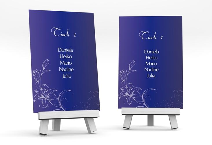 """Tischaufsteller Hochzeit """"Lille"""" Tischaufsteller blau"""