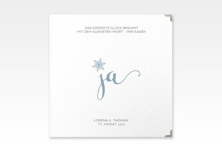 """Gästebuch Selection Hochzeit """"Snowflake"""" Leinen-Hardcover blau"""