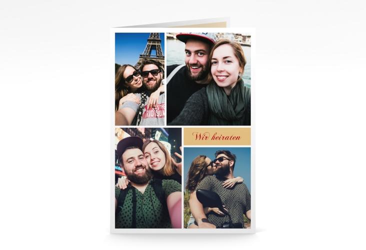 """Kirchenheft Hochzeit """"Collage"""" DIN A5 geklappt apricot"""