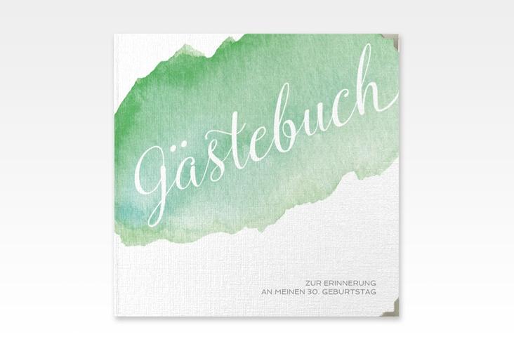 "Gästebuch Selection Geburtstag ""Aquarell"" Leinen-Hardcover gruen"