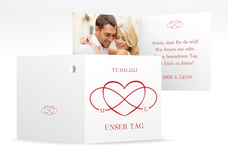 "Geschenkanhänger Hochzeit ""Infinity"" Geschenkanhänger 10er Set rot"