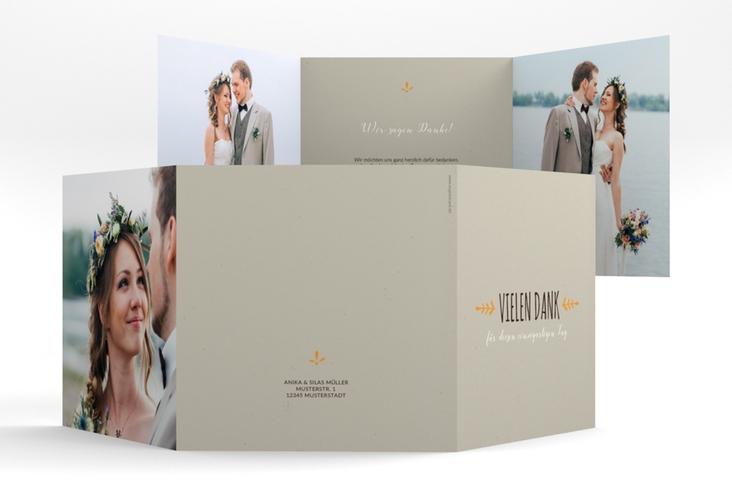 "Dankeskarte Hochzeit ""Eden"" Quadr. Karte doppelt orange"
