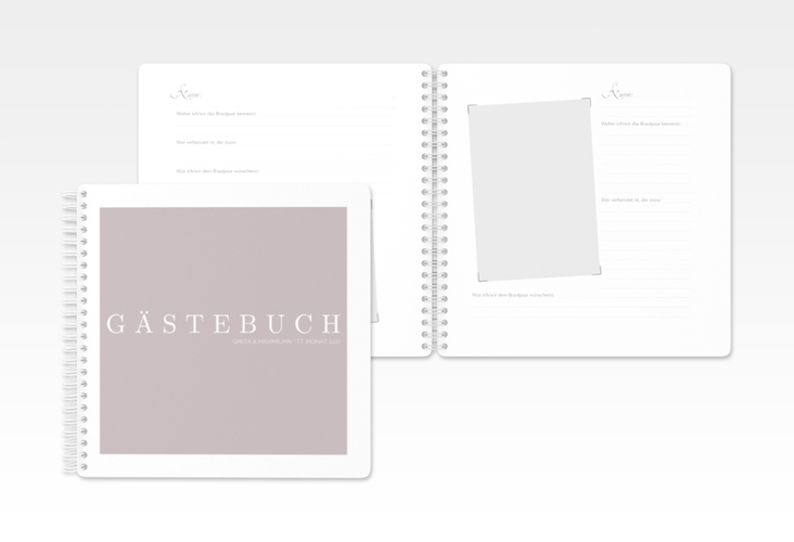 "Gästebuch Hochzeit ""Simply"" Ringbindung grau"