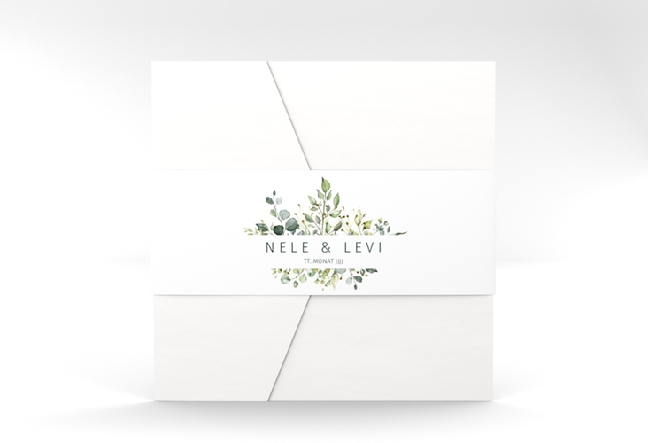 """Hochzeitseinladung """"Enchanting"""" Pocketfold weiss"""