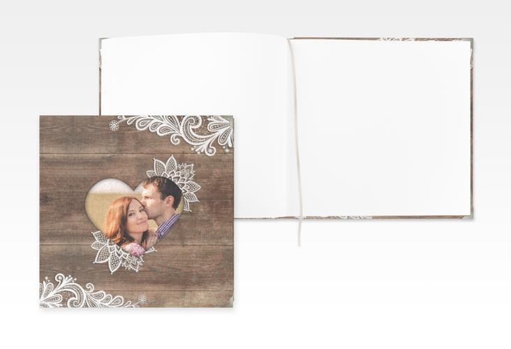 """Gästebuch Selection Hochzeit """"Spitze"""" Leinen-Hardcover braun"""