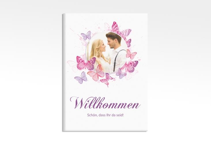 """Willkommensschild Leinwand """"Schmetterlinge"""" 50 x 70 cm Leinwand pink"""
